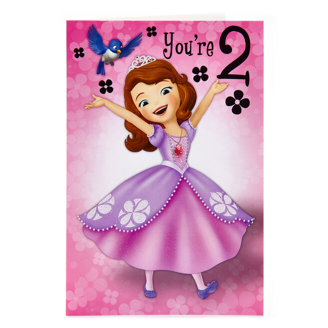 Sofia The First 2nd Birthday Card