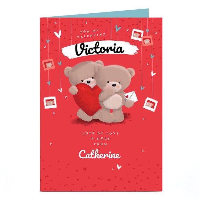 Personalised Hugs Bear Valentine's Day Card - Love & Hugs