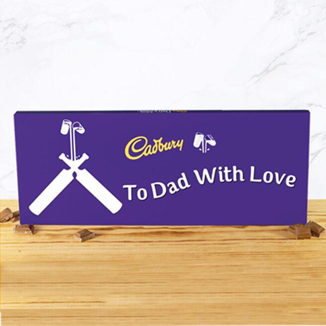Personalised 850g Cadbury Dairy Milk Bar - Cricket