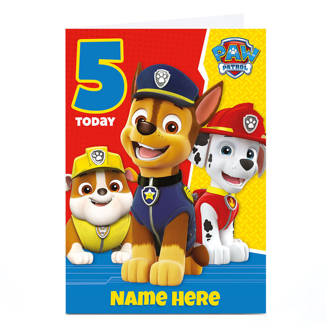 Personalised Paw Patrol Card - 5 Today