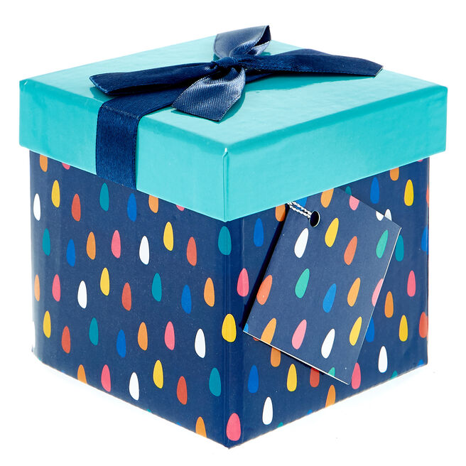 Small Flat-Pack Gift Box - Patterned Turquoise
