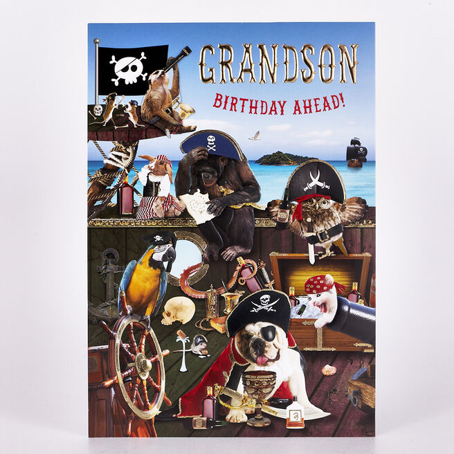 Signature Collection Birthday Card - Grandson pirate Animals