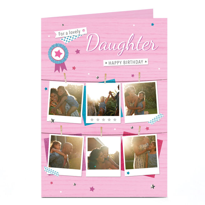 Photo Birthday Card - Pink Polaroids, Daughter