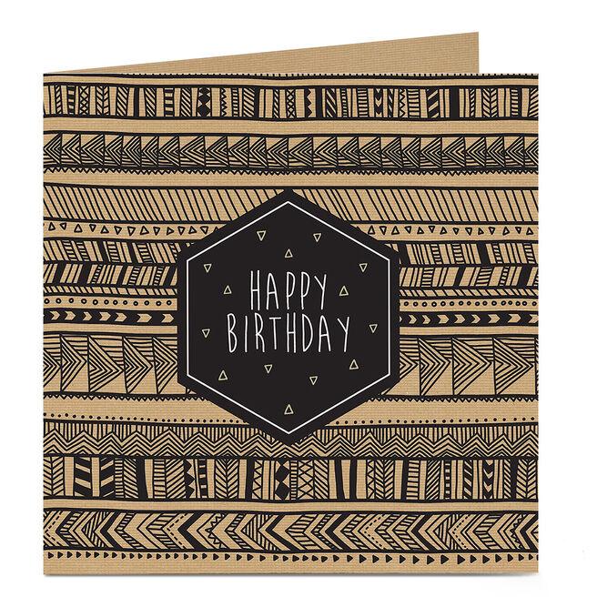 Personalised Birthday Card - Brown Aztec Pattern