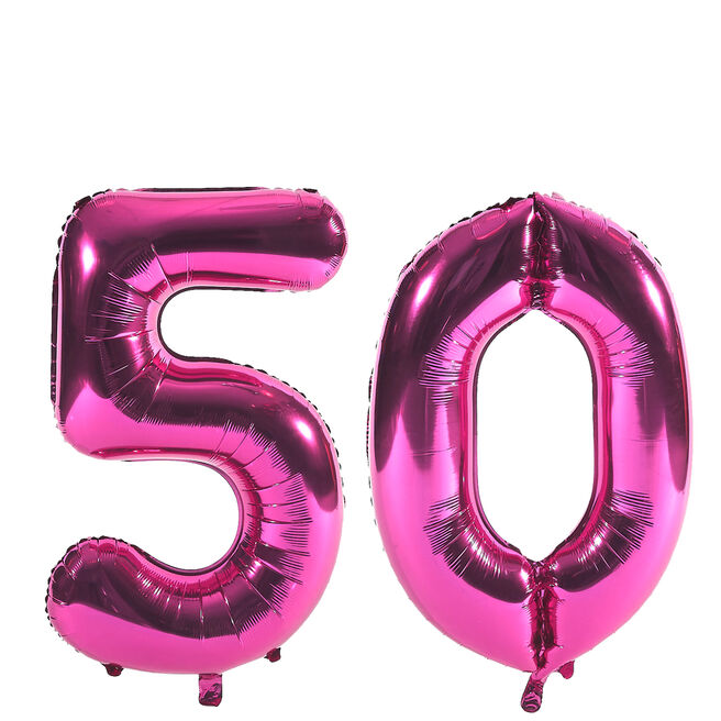 Age 50 Giant Foil Helium Numeral Balloons - Pink (deflated)