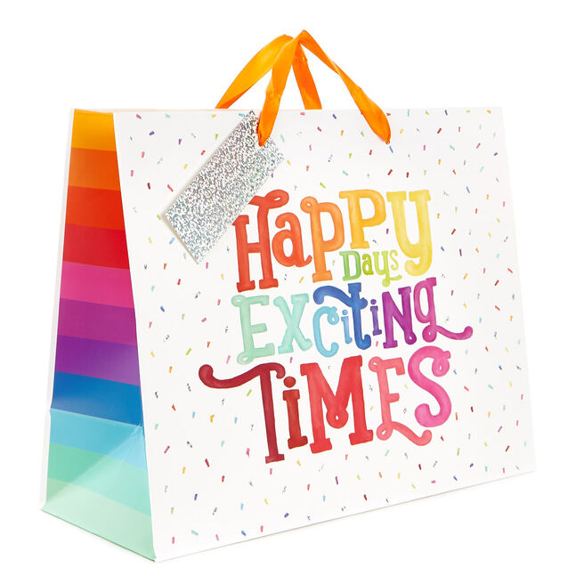 Medium Rainbow Gift Bag - Happy Days, Exciting Times!