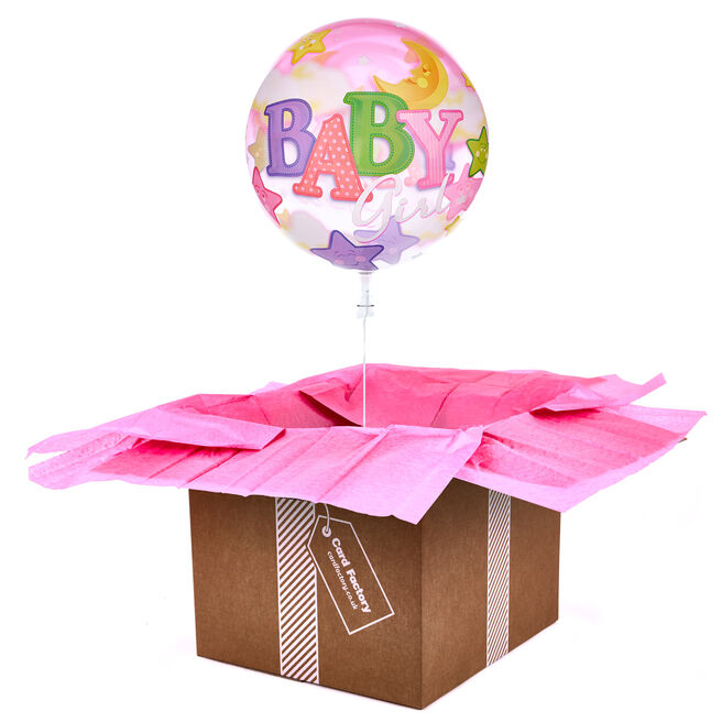 22-Inch Bubble Balloon - Baby Girl - DELIVERED INFLATED!