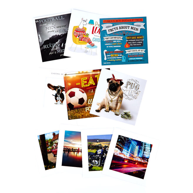 Assorted Occasion Cards, Male Designs - Pack Of 10