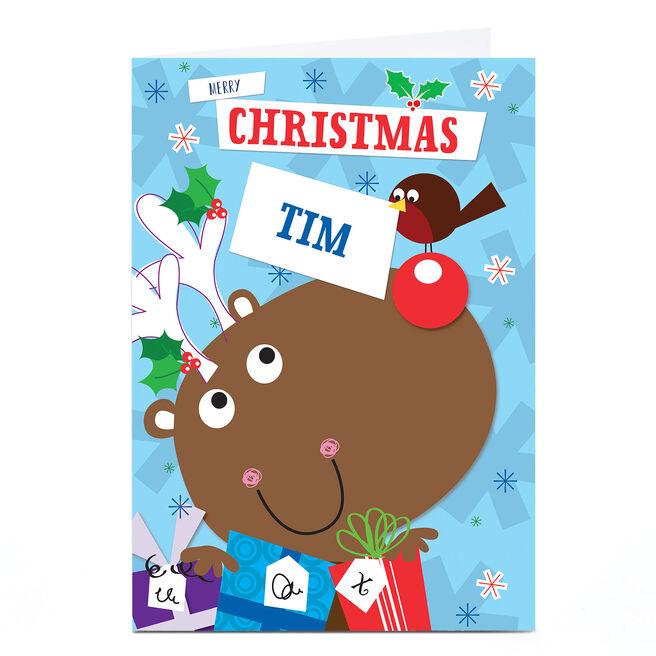 Personalised Christmas Card - Cartoon Reindeer