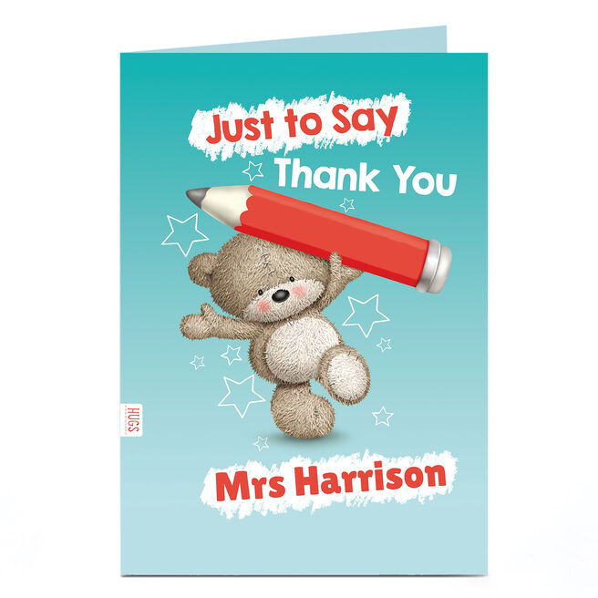 Hugs Personalised Thank You Teacher Card - Just To Say