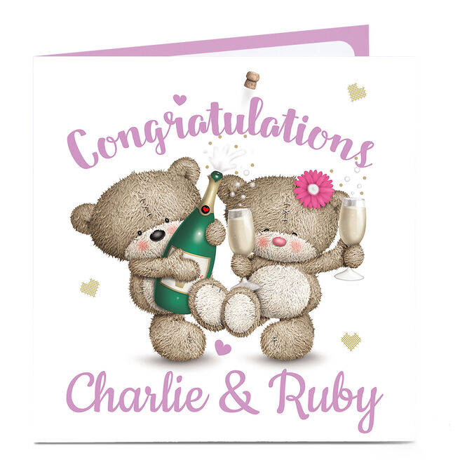 Personalised Congratulations Card - Hugs Bear Couple
