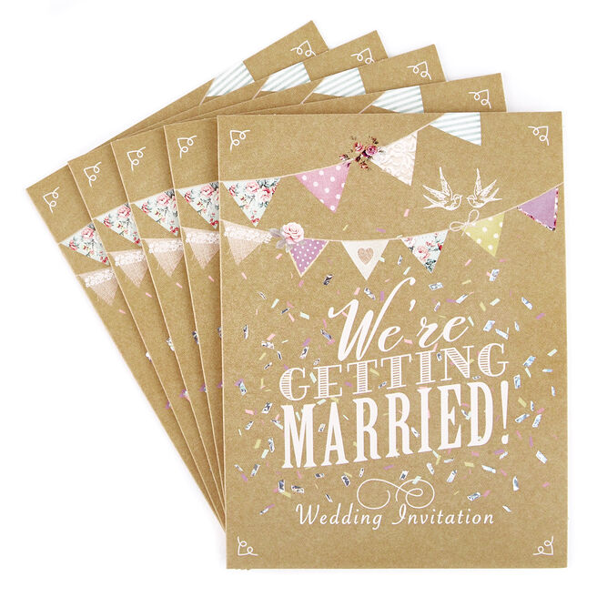 Wedding Invitations, Bunting - Pack of 12