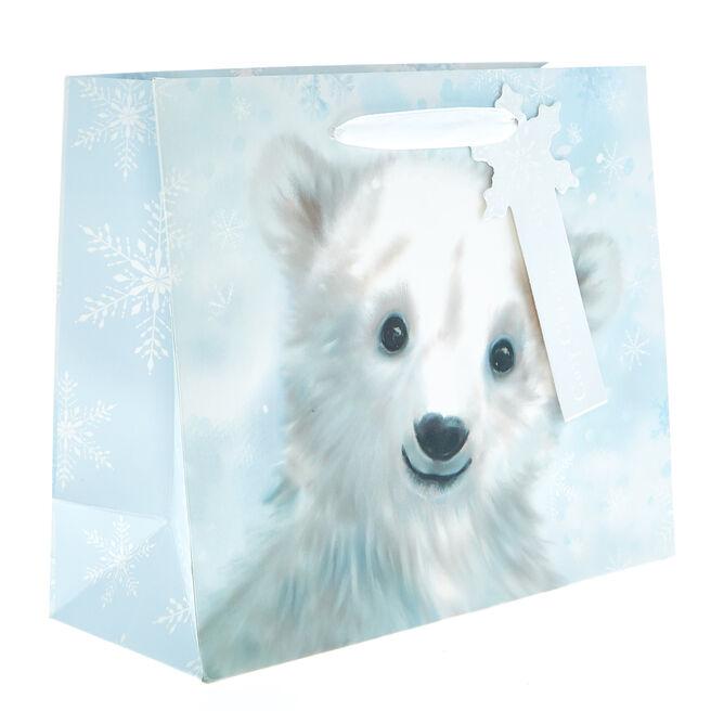 Small Landscape Polar Bear Christmas Gift Bag
