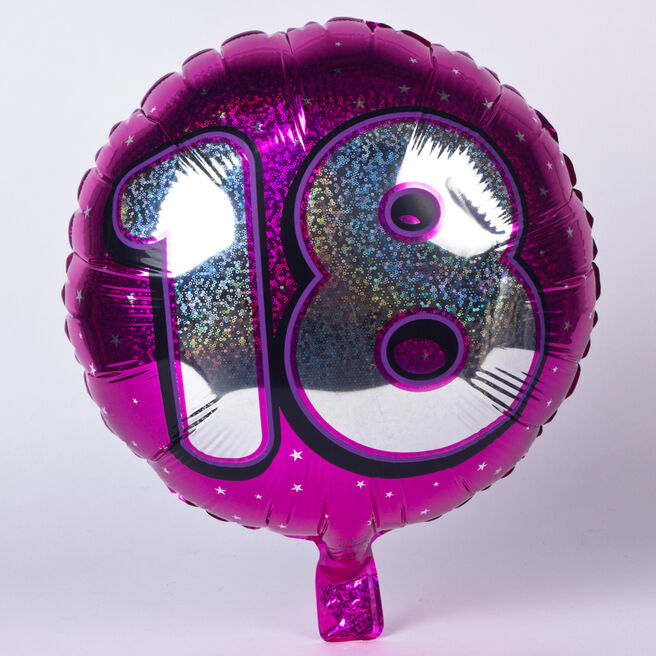 Holographic Pink Age 18 Foil Helium Balloon