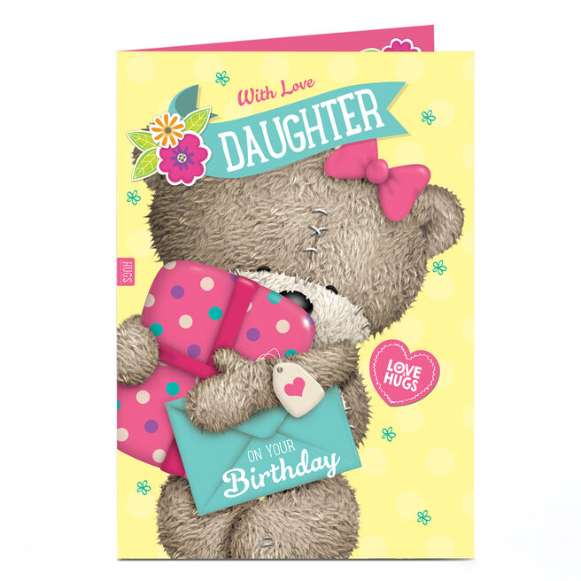 Personalised Birthday Card - Hugs Bear With Love, Daughter