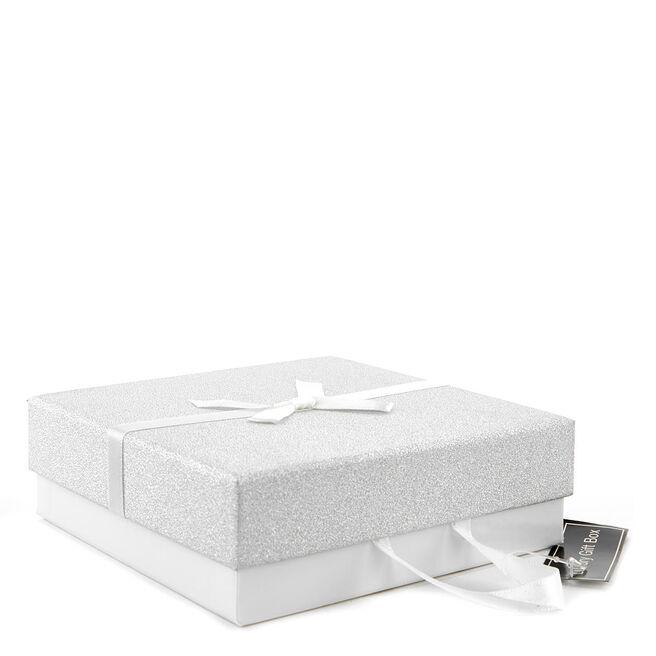 Large Luxury Gift Box - White & Silver Glitter