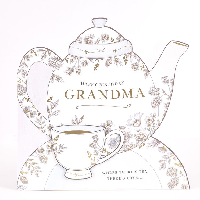 Exquisite Collection Birthday Card - Grandma Teapot