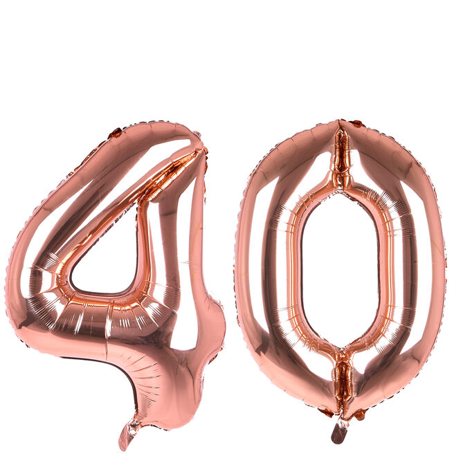 Age 40 Giant Foil Helium Numeral Balloons - Rose Gold (deflated)