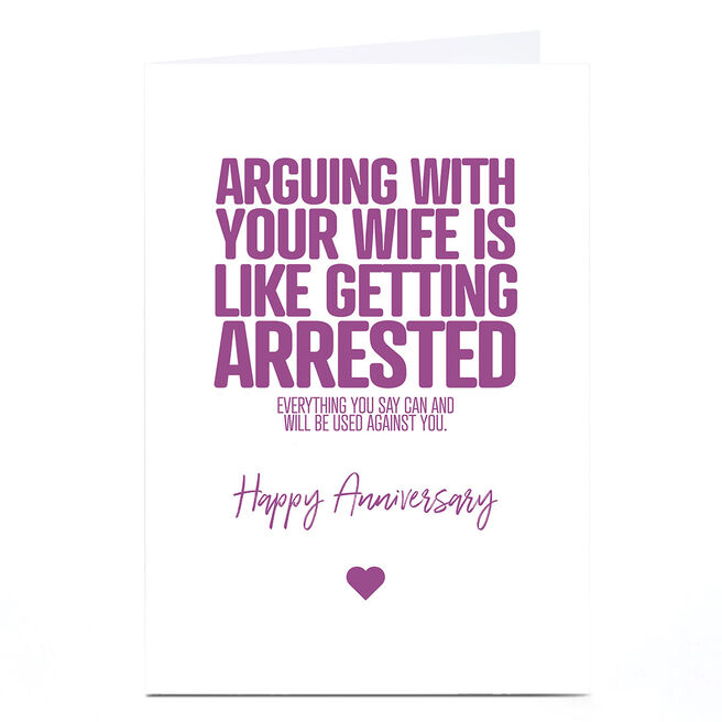 Personalised Punk Anniversary Card - Arguing with your Wife