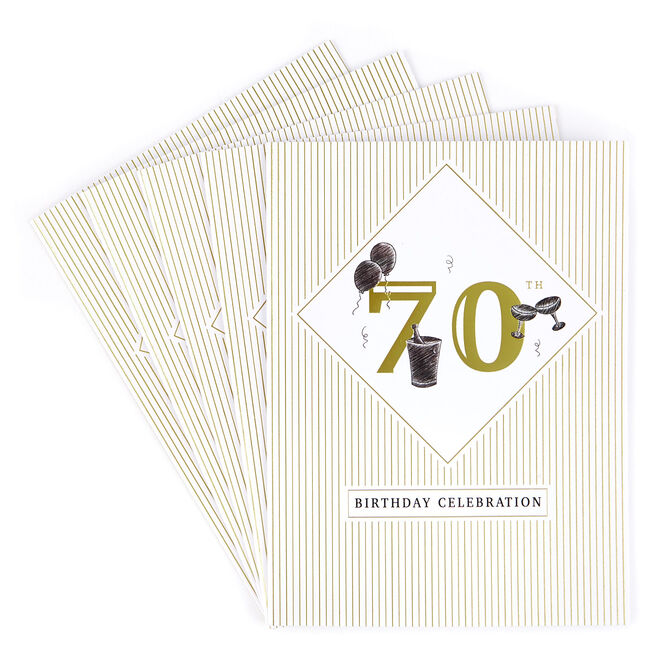 70th Birthday Party Invitations - Pack of 12