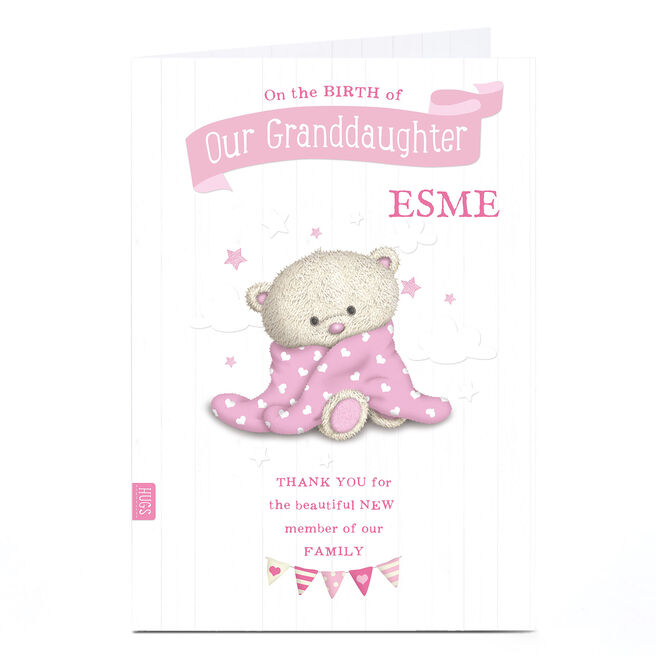 Personalised Hugs New Baby Card - Pink Baby Towel