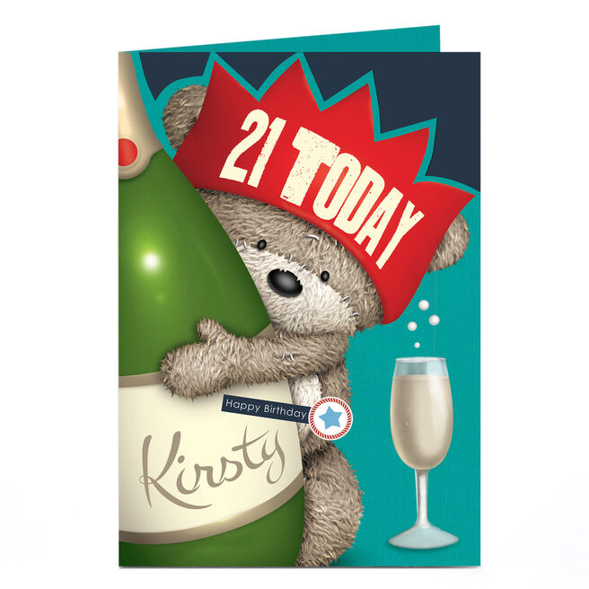 Personalised Any Age Birthday Card - Hugs Bear & Champagne, Any Name