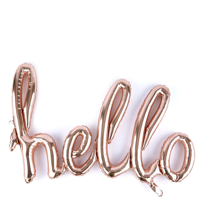 31-Inch Rose Gold Script Balloon - Hello