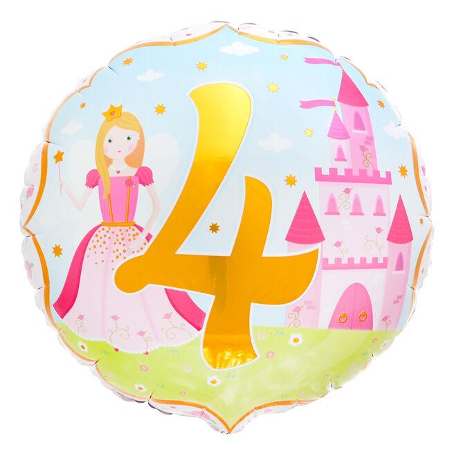 Princess 4th Birthday 18-Inch Foil Helium Balloon