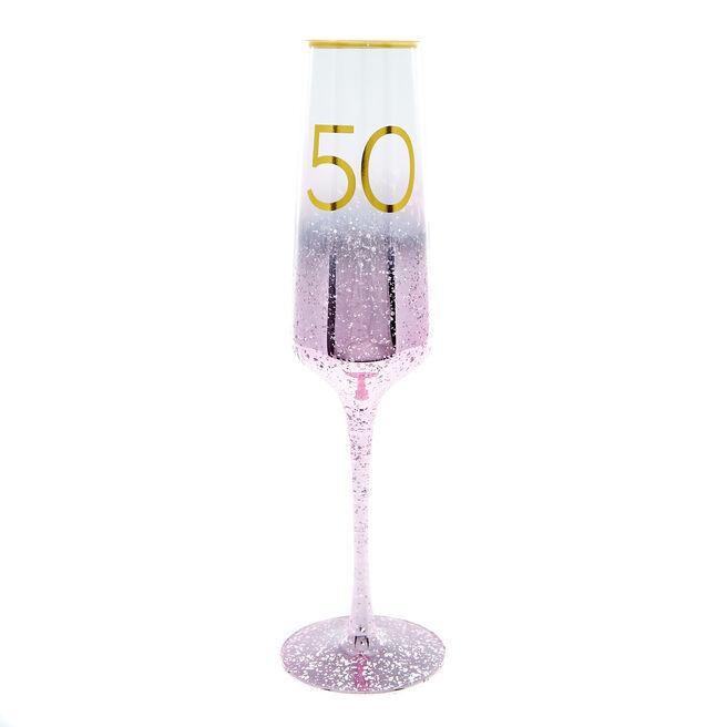 50th Birthday Champagne Flute - Happy Birthday To You
