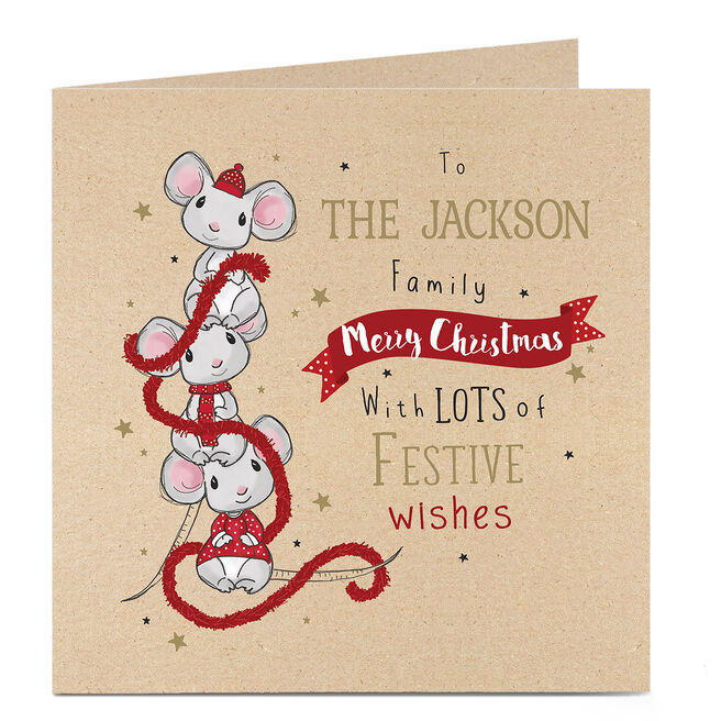 Personalised Christmas Card - Three Mice With Tinsel
