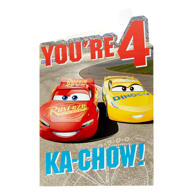 Cars 4th Birthday Card