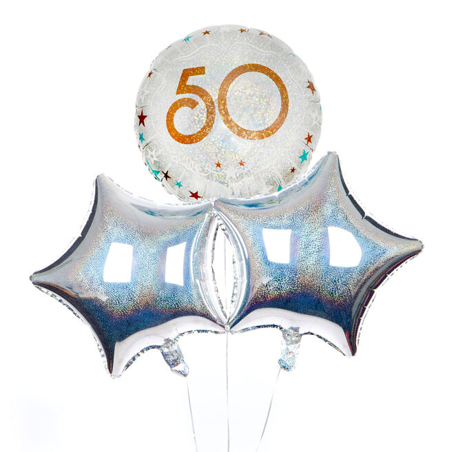 Silver & Bronze 50th Birthday Balloon Bouquet - DELIVERED INFLATED!