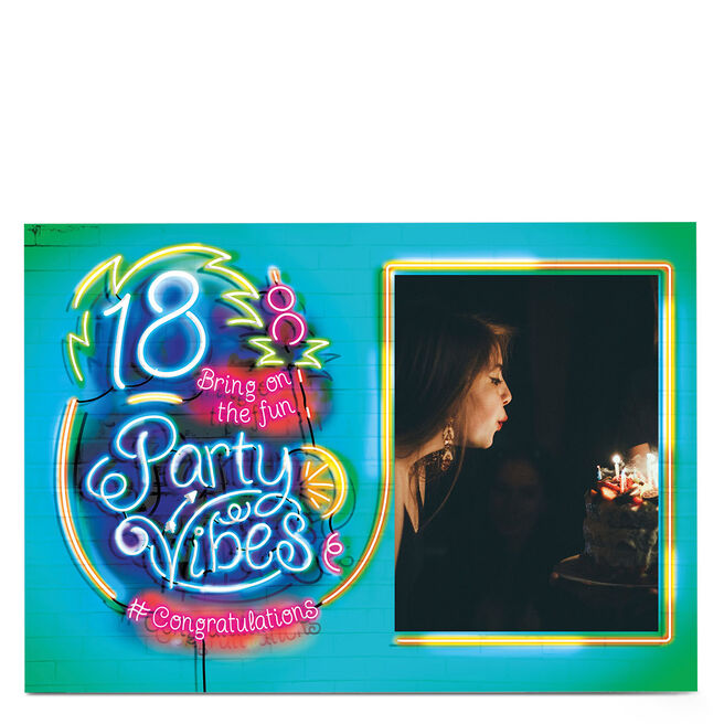 Photo 18th Birthday Card - Party Vibes, Neon Lights