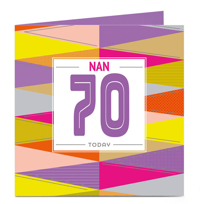 Personalised Any Age Birthday Card - Vibrant ZigZags Nan