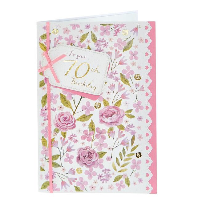 70th Birthday Card - Pink Flowers