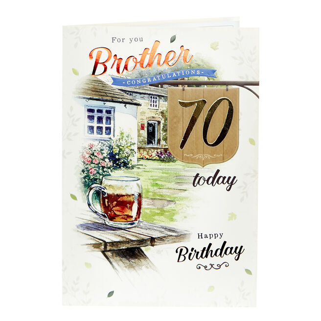 70th Birthday Card - For You Brother