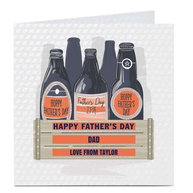 Personalised Father's Day Card - Beer Bottle Crate