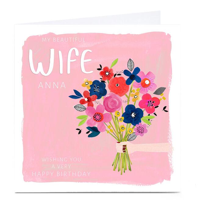 Personalised Kerry Spurling Birthday Card - Flowers, Wife