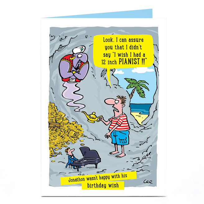 Personalised Birthday Card - Genie Wish Cartoon