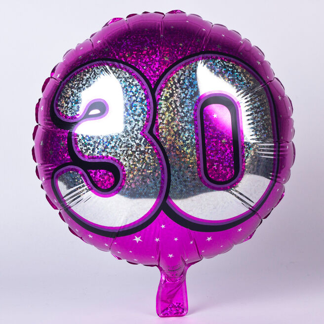 Holographic Pink Age 30 Foil Helium Balloon