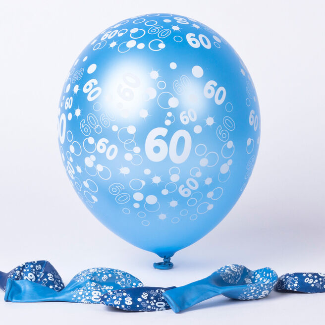 Metallic Blue Circles 60th Birthday Helium Latex Balloons - Pack Of 6
