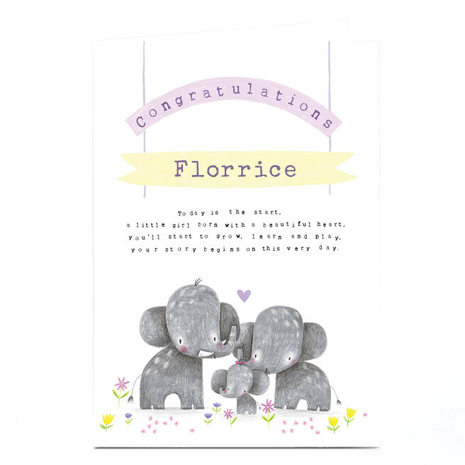 Personalised Jordan Wray Congratulations Card - Elephants
