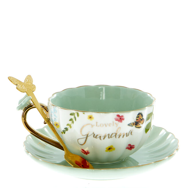 Lovely Grandma Teacup, Saucer & Spoon Set