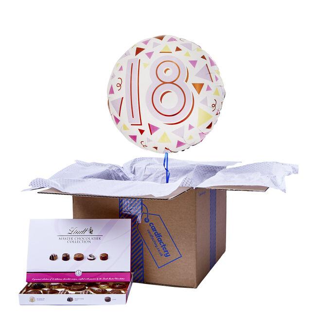 Pastel Triangles 18th Birthday Balloon & Chocolate Box