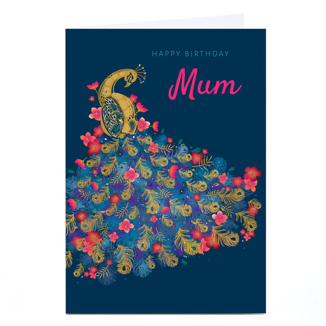 Personalised Kerry Spurling Birthday Card - Peacock