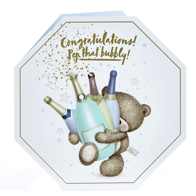 Platinum Collection Hugs Bear Congratulations Card - Pop That Bubbly