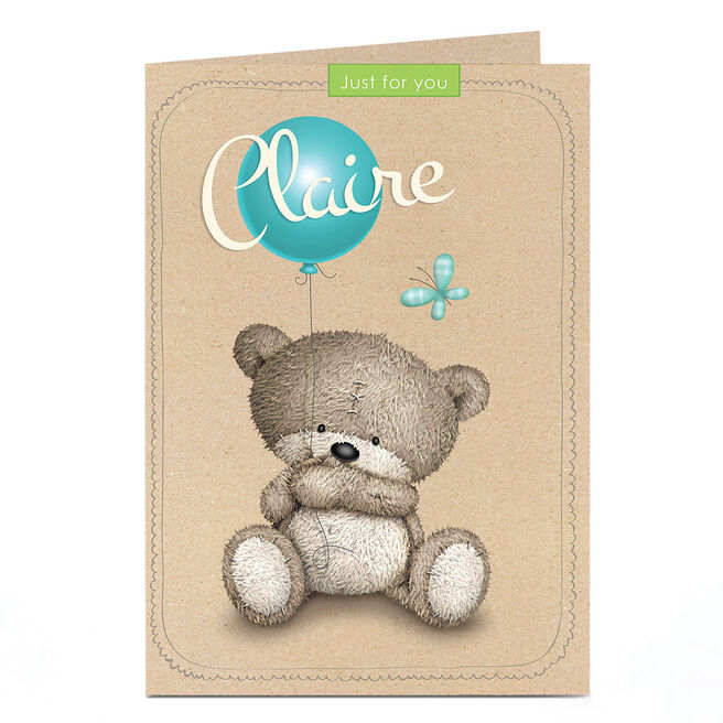 Personalised Hugs Bear Card - Just For You, Balloon