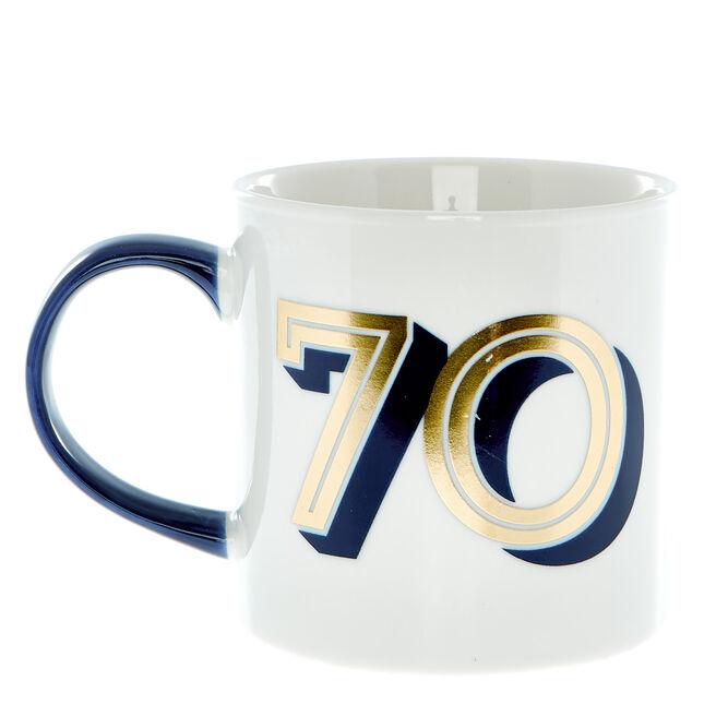70th Birthday Mug In A Box - Blue & Gold