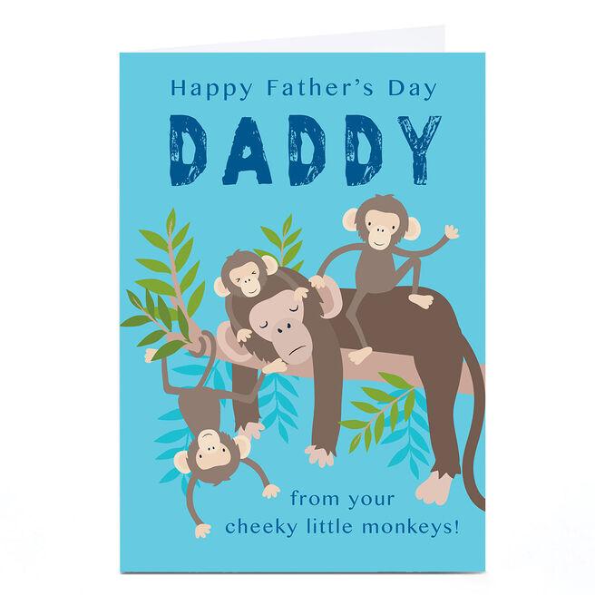 Personalised Klara Hawkins Father's Day Card - Cheeky Little Monkeys