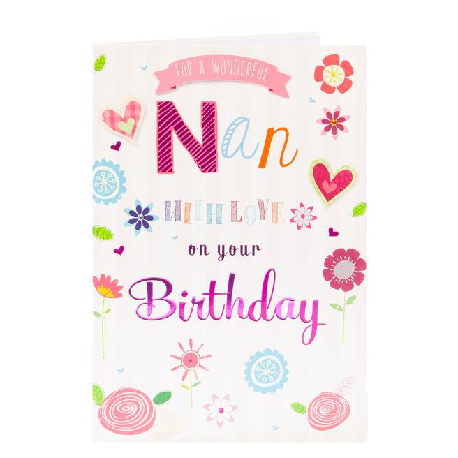 Birthday Card - Wonderful Nan With Love